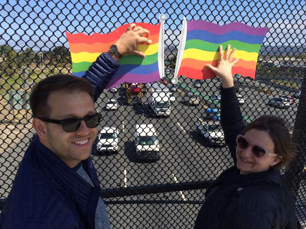 """<div class=""""meta image-caption""""><div class=""""origin-logo origin-image none""""><span>none</span></div><span class=""""caption-text"""">Pedestrians hold pride signs on a Berkeley overpass following SCOTUS ruling on same sex marriage on Friday, June 26, 2015. (KGO-TV)</span></div>"""