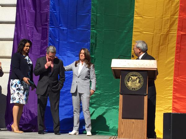 """<div class=""""meta image-caption""""><div class=""""origin-logo origin-image none""""><span>none</span></div><span class=""""caption-text"""">San Francisco Mayor Ed Lee asked, """"Did you hear the earth shake this morning?"""" at City Hall following the Supreme Court ruling on same sex marriage on Friday, June 26, 2015. (KGO-TV)</span></div>"""