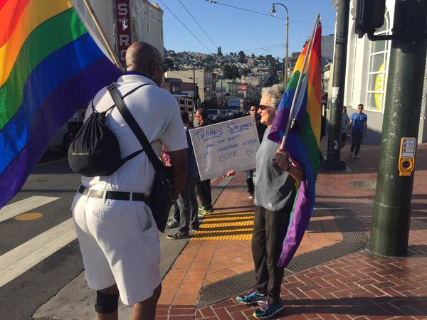 """<div class=""""meta image-caption""""><div class=""""origin-logo origin-image none""""><span>none</span></div><span class=""""caption-text"""">People are celebrating the Supreme Court's same sex marriage ruling in San Francisco on Friday, June 26, 2015. (KGO-TV)</span></div>"""