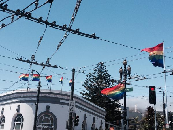 """<div class=""""meta image-caption""""><div class=""""origin-logo origin-image none""""><span>none</span></div><span class=""""caption-text"""">Rainbow flags are flying high above San Francisco's Castro District on Friday, June 26, 2015. (KGO-TV)</span></div>"""