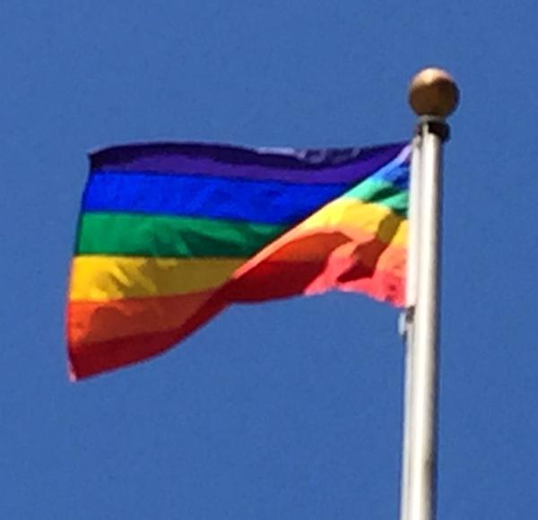 """<div class=""""meta image-caption""""><div class=""""origin-logo origin-image none""""><span>none</span></div><span class=""""caption-text"""">This pride flag is flying above the Santa Clara County Government Center after SCOTUS ruling on same sex marriage on Friday, June 26, 2015. (KGO-TV)</span></div>"""
