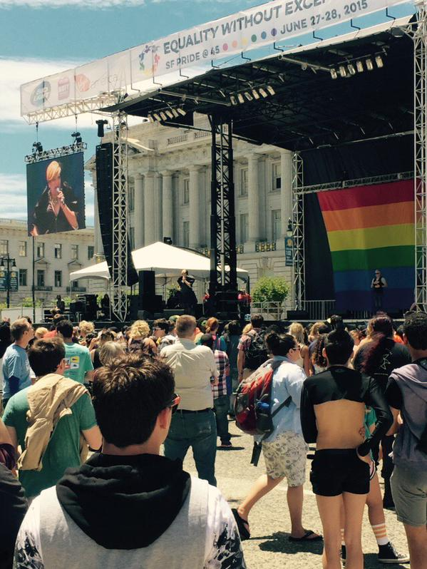 <div class='meta'><div class='origin-logo' data-origin='none'></div><span class='caption-text' data-credit='KGO-TV'>The San Francisco Pride celebration is on at Civic Center in San Francisco on Saturday, June 27, 2015.</span></div>