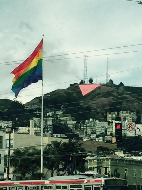 <div class='meta'><div class='origin-logo' data-origin='none'></div><span class='caption-text' data-credit='KGO-TV'>The Pink Triangle is up and beaming with pride at Twin Peaks in San Francisco on Saturday, June 27, 2015.</span></div>