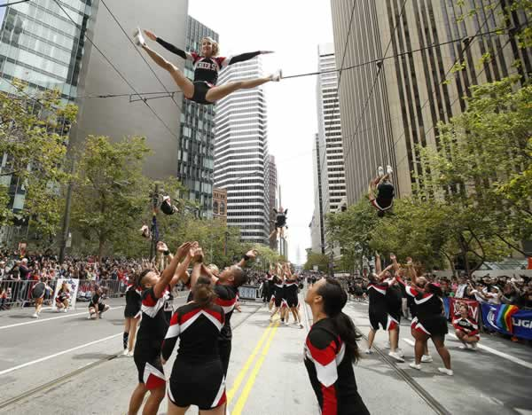 <div class='meta'><div class='origin-logo' data-origin='none'></div><span class='caption-text' data-credit='AP Photo/ Tony Avelar'>Cheer SF cheerleaders perform during 45th annual San Francisco Gay Pride parade Sunday, June 28, 2015, in San Francisco.</span></div>
