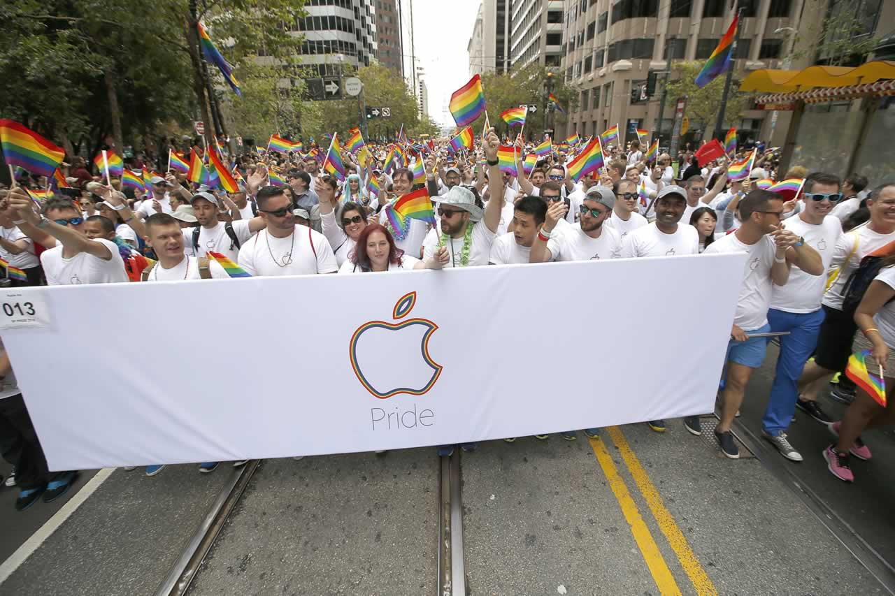 <div class='meta'><div class='origin-logo' data-origin='none'></div><span class='caption-text' data-credit='AP Photo/ Tony Avelar'>Apple employees and family members march during the 45th annual San Francisco Gay Pride parade Sunday, June 28, 2015, in San Francisco.</span></div>