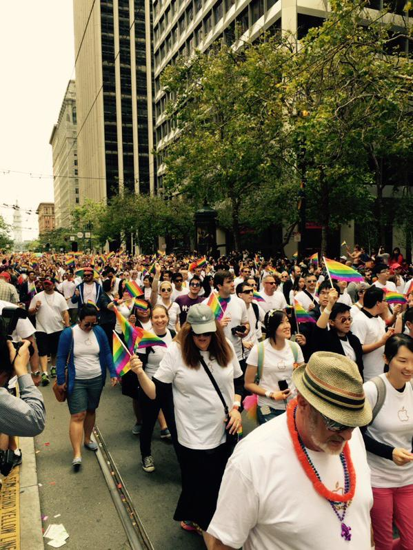 <div class='meta'><div class='origin-logo' data-origin='none'></div><span class='caption-text' data-credit='KGO-TV'>Thousands of Apple employees march in San Francisco's Pride Parade on Sunday, June 28, 2015.</span></div>