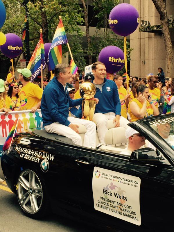 <div class='meta'><div class='origin-logo' data-origin='none'></div><span class='caption-text' data-credit='KGO-TV'>Golden State Warriors President Rick Welts rides in the Pride Parade in San Francisco on Sunday, June 28, 2015.Tag your pics on Facebook, Twitter and Instagram using #abc7now.</span></div>