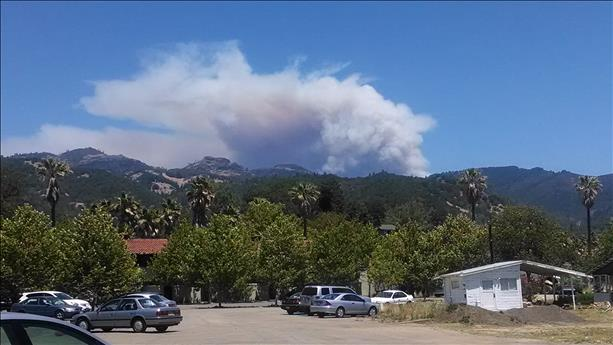 Pope Valley fire from Downtown Calistoga.  <span class=meta>(photo submitted by Doug O&#39;neill via uReport)</span>