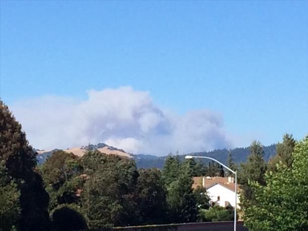 Napa fire seen from Santa Rosa office off of Highway 12. <span class=meta>photo submitted by Sandi via uReport</span>