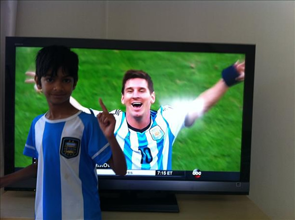 Big Messi fan! Keep sending in your World Cup fan photos! <span class=meta>(photo submitted by Dinesh via uReport)</span>