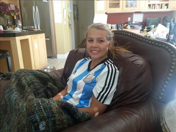 <div class='meta'><div class='origin-logo' data-origin='~ORIGIN~'></div><span class='caption-text' data-credit='photo submitted via uReport'>Kassidy Toombs sports a Messi jersey! Keep sending in your World Cup fan photos!</span></div>