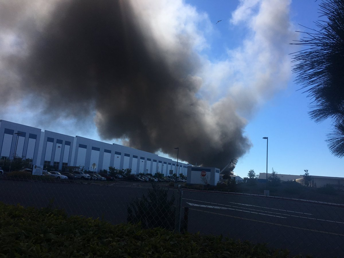 <div class='meta'><div class='origin-logo' data-origin='none'></div><span class='caption-text' data-credit='Photo submitted to KGO-TV by @vishnupspk_fan/Twitter'>A massive fire burns at a recycling center in Newark, Calif., on Friday, June 8, 2016.</span></div>