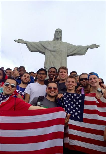 A group of Danville, California boys who played soccer together growing up went to watch the World Cup!  Here they are in front of Brazil&#39;s Christ the Redeemer statue. <span class=meta>(photo submitted via uReport)</span>