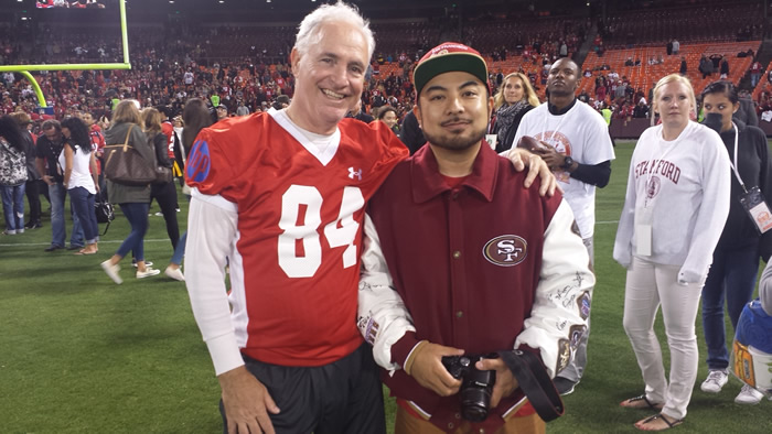 ABC7 News Mike Shumann with Fan Reporter winner, Bernard Galang, on the field at the Legends of Candlestick game. <span class=meta>KGO</span>