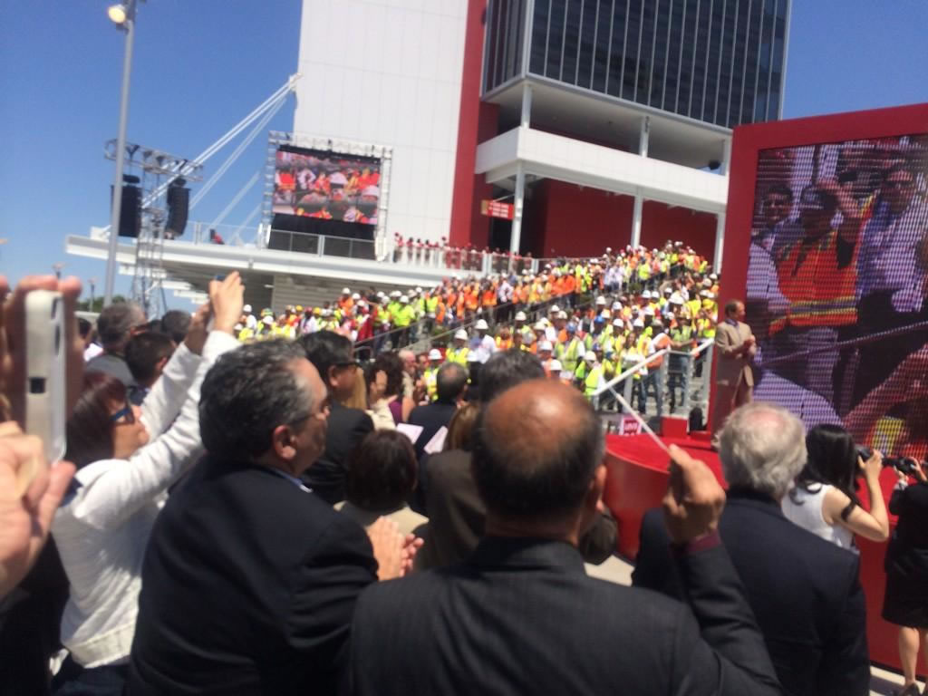 <div class='meta'><div class='origin-logo' data-origin='none'></div><span class='caption-text' data-credit='ABC7 News Reporter, David Louie'>Ribbon cutting day at Levi's Stadium!  Construction workers march down stairs to standing ovation before ribbon cutting.</span></div>
