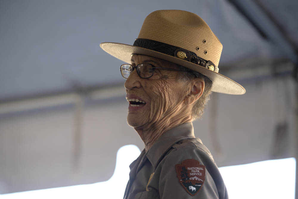 """<div class=""""meta image-caption""""><div class=""""origin-logo origin-image none""""><span>none</span></div><span class=""""caption-text"""">The National Park Service's oldest park ranger, Betty Reid Soskin, received a new presidential coin on July 17, 2016 at the Concord Naval Weapon Station in Concord, Calif. (East Bay Regional Park District )</span></div>"""