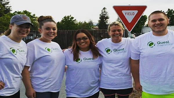 <div class='meta'><div class='origin-logo' data-origin='none'></div><span class='caption-text' data-credit='Photo submitted to KGO-TV by astacyface/Instagram'>The Quest Diagnostics team poses for a photo at AIDS Walk San Francisco in Golden Gate Park on Sunday, July 19, 2015.</span></div>