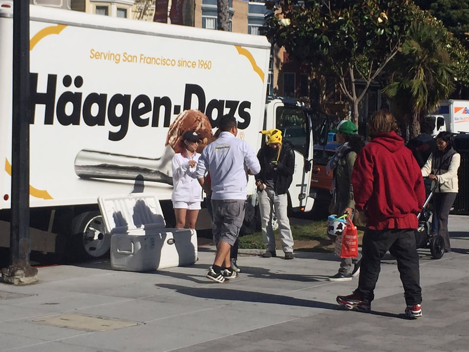 <div class='meta'><div class='origin-logo' data-origin='none'></div><span class='caption-text' data-credit='Katie Marzullo/KGO-TV'>Pokemon Go players hang out at a Haagen Daz truck near Dolores Park in San Francisco ahead of an event on Wednesday, July 20, 2016.</span></div>