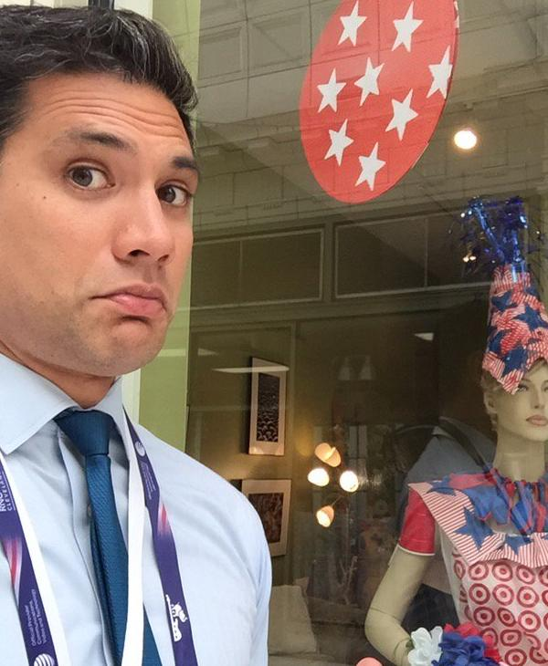 <div class='meta'><div class='origin-logo' data-origin='none'></div><span class='caption-text' data-credit='KGO-TV'>ABC7 anchor Reggie Aqui is seen standing in front of a store near the Republican National Convention in Cleveland, Ohio on Wednesday, July 20, 2016.</span></div>