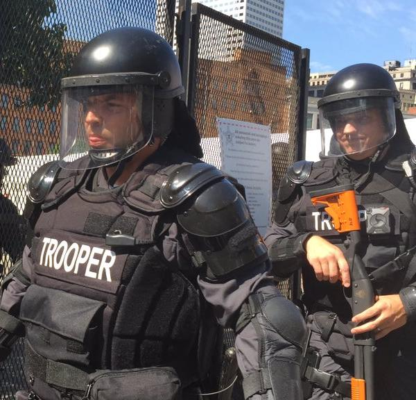 <div class='meta'><div class='origin-logo' data-origin='none'></div><span class='caption-text' data-credit='KGO-TV'>Police are seen wearing riot gear as they respond to a protest outside the Republican National Convention in Cleveland, Ohio on Wednesday, July 20, 2016.</span></div>