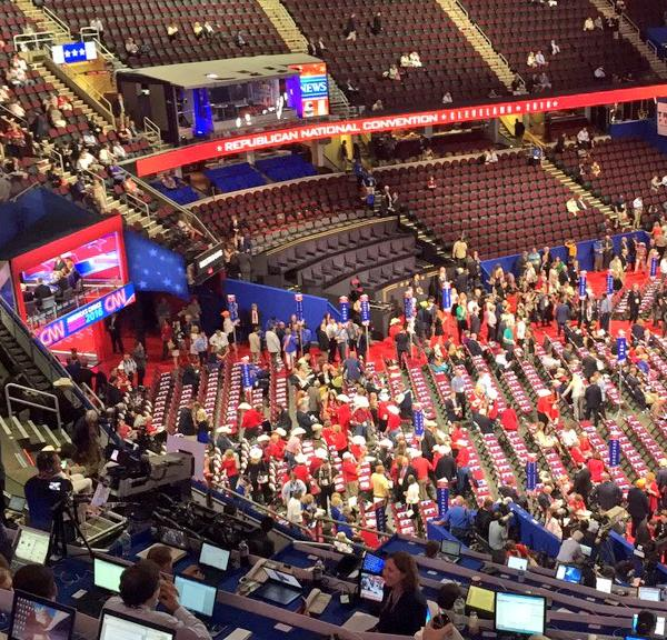 <div class='meta'><div class='origin-logo' data-origin='none'></div><span class='caption-text' data-credit='KGO-TV'>A large crowd is seen inside the Quicken Loans Arena during the Republican National Convention in Cleveland, Ohio on Wednesday, July 20, 2016.</span></div>
