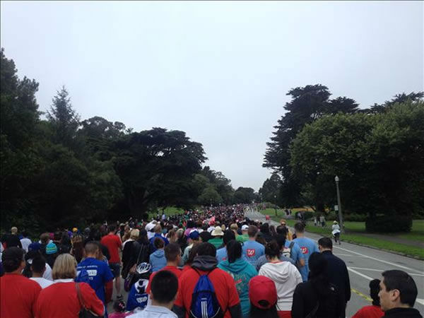 An estimated 20,000 people participated in the 28th annual AIDS Walk San Francisco, collectively raising more than &#36;2 million. <span class=meta>(KGO Photo)</span>