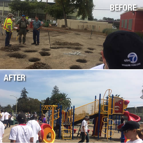 ABC7 and KaBOOM team up to build a dream playground in the Millsmont neighborhood in East Oakland, California, August 8, 2014. <span class=meta>KGO Photo</span>