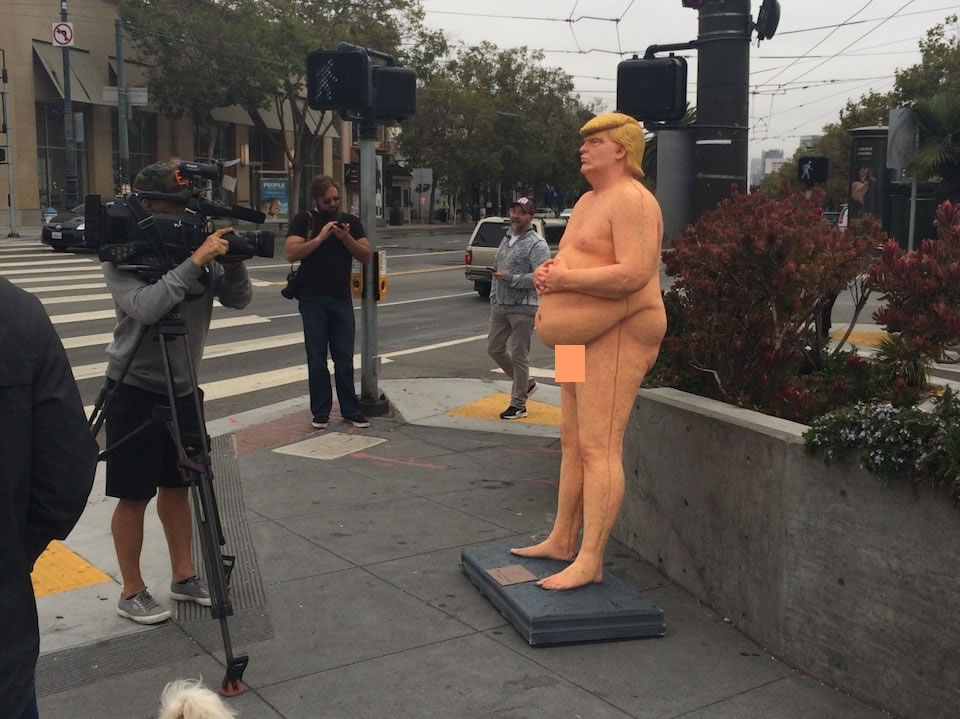 Image result for naked donald trump statue