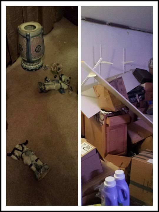 "This photo was sent to us by Joy Dionisio Mendoza via Facebook who said, ""Woke up from it... This is our vases and our garage after."""