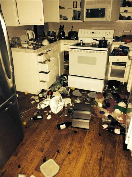 Damage shows earthquake's impact on Napa kitchen. <span class=meta>Photo submitted via uReport</span>