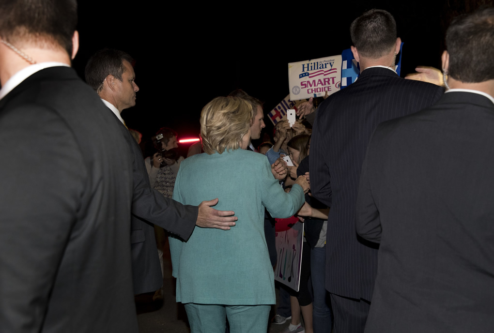 <div class='meta'><div class='origin-logo' data-origin='none'></div><span class='caption-text' data-credit='AP Photo/Carolyn Kaster'>Democratic presidential nominee Hillary Clinton greets people outside on the street as she leaves a fundraiser in Piedmont, Calif., Tuesday, Aug. 23, 2016.</span></div>