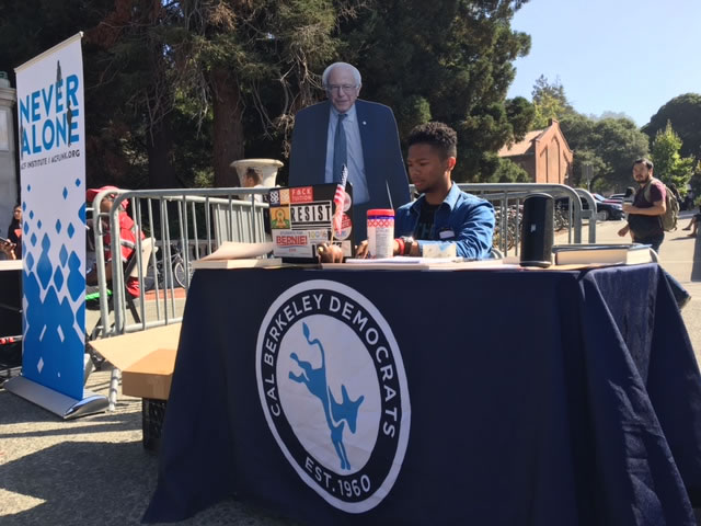 <div class='meta'><div class='origin-logo' data-origin='none'></div><span class='caption-text' data-credit='KGO-TV'>Cal student activists passed out signs on campus in Berkeley, Calif. on Friday, Aug. 25, 2017.</span></div>