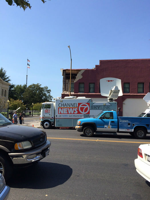 ABC7 News in Napa Valley to report on earthquake damage in the area. <span class=meta>KGO Photo/ Richard Epting</span>