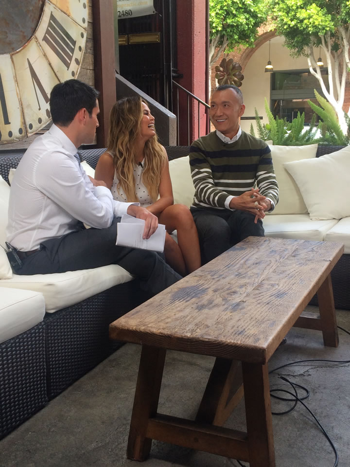 """<div class=""""meta image-caption""""><div class=""""origin-logo origin-image none""""><span>none</span></div><span class=""""caption-text"""">ABC7 Meteorologist Drew Tuma and 'FABLif'e Lifestylists Chrissy Teigen and Joe Zee talked about the latest sock fashions for men in San Francisco on Monday, August 10, 2015. (KGO-TV)</span></div>"""