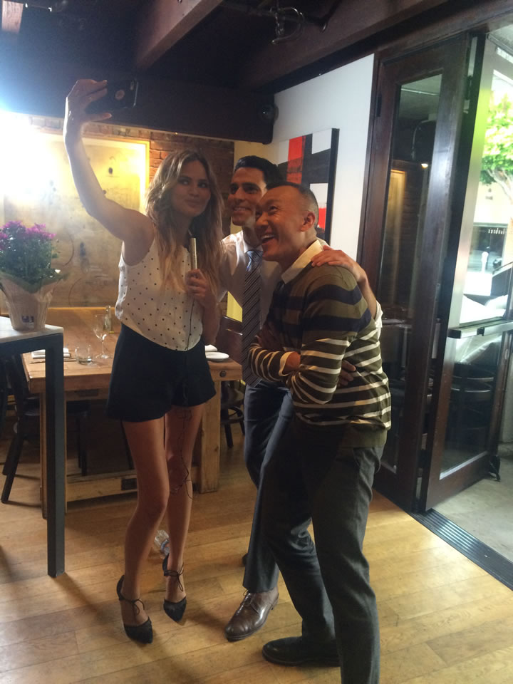 """<div class=""""meta image-caption""""><div class=""""origin-logo origin-image none""""><span>none</span></div><span class=""""caption-text"""">ABC7 Meteorologist Drew Tuma and 'FABLife' Lifestylists Chrissy Teigen and Joe Zee pose for a photo at Piperade in San Francisco on Monday, August 10, 2015. (KGO-TV)</span></div>"""