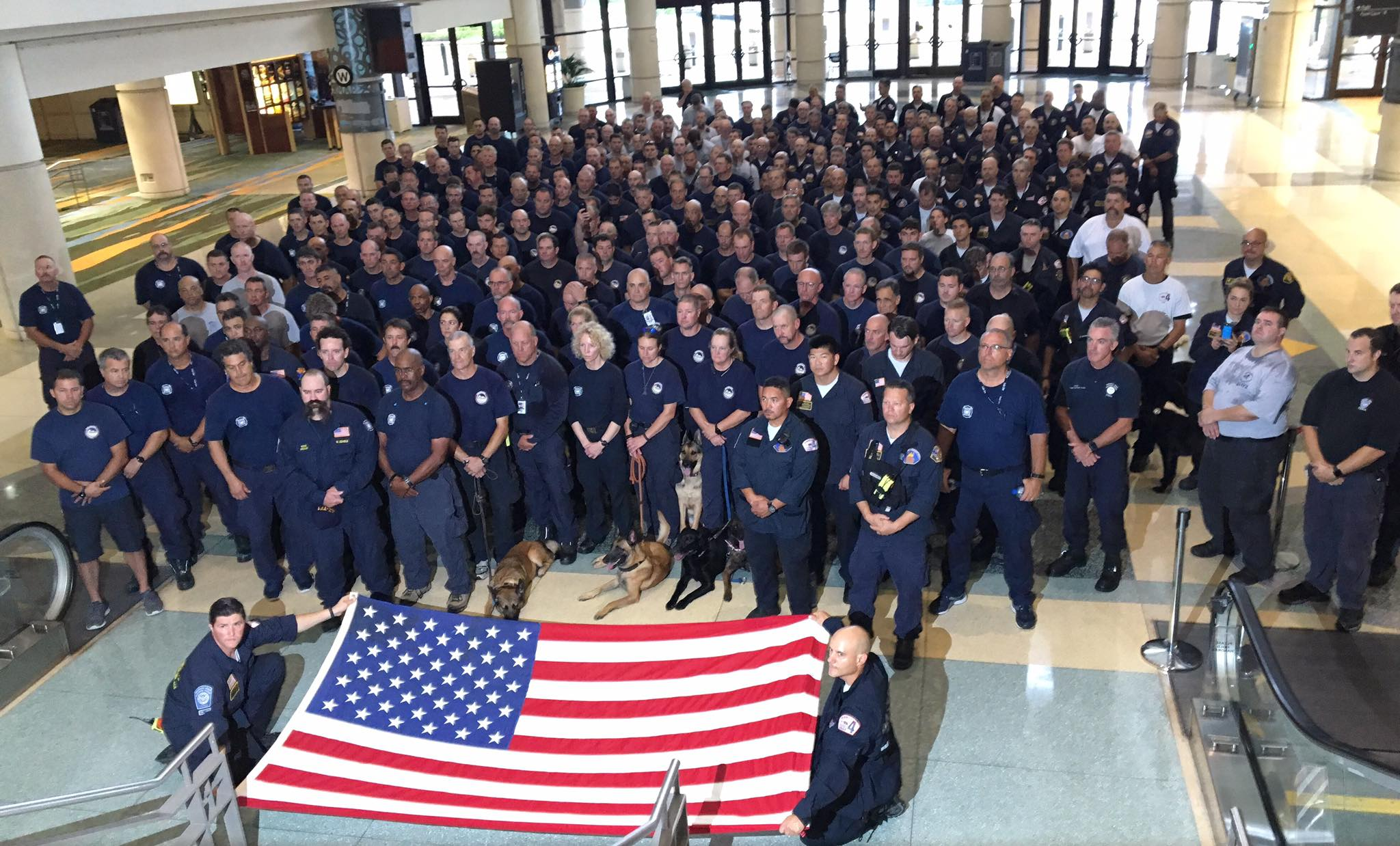 <div class='meta'><div class='origin-logo' data-origin='none'></div><span class='caption-text' data-credit='Alameda County Fire Department/Facebook'>Alameda Co. Fire with CA-Task Force 4 and the other FEMA USAR Task Forces deployed for Hurricane Irma paid tribute to the victims of 9/11 on Sept. 11, 2017 in Orlando, Florida.</span></div>