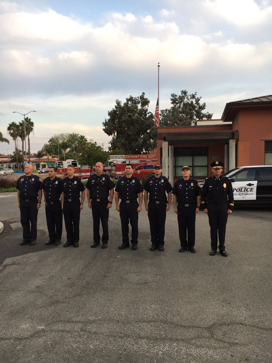 <div class='meta'><div class='origin-logo' data-origin='none'></div><span class='caption-text' data-credit='FPDCaptBobbitt/Twitter'>Police Captain Fred Bobbitt joined fire department members from Engine and Truck 57 in Fremont, Calif. on Monday, Sept. 11, 2017 to pay tribute to the victims of 9/11.</span></div>