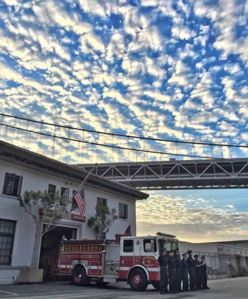 <div class='meta'><div class='origin-logo' data-origin='none'></div><span class='caption-text' data-credit='SFFFLocal798/Twitter'>San Francisco Firefighters Local 798 tweeted this photo on Monday, Sept. 11, 2017 to pay tribute to the victims of 9/11.</span></div>