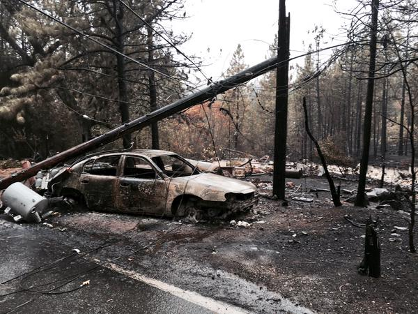 <div class='meta'><div class='origin-logo' data-origin='none'></div><span class='caption-text' data-credit='KGO-TV'>A car burned by the Valley Fire is seen at Gifford Springs at Mapes in this image on September 16, 2015.</span></div>