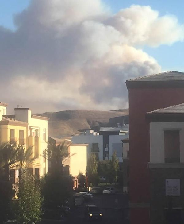 <div class='meta'><div class='origin-logo' data-origin='none'></div><span class='caption-text' data-credit='Photo submitted to KGO-TV by @erikmorrongo/Twitter'>This view of the Loma Fire is from the Santa Teresa area in South San Jose on Tuesday, September 27, 2016.</span></div>