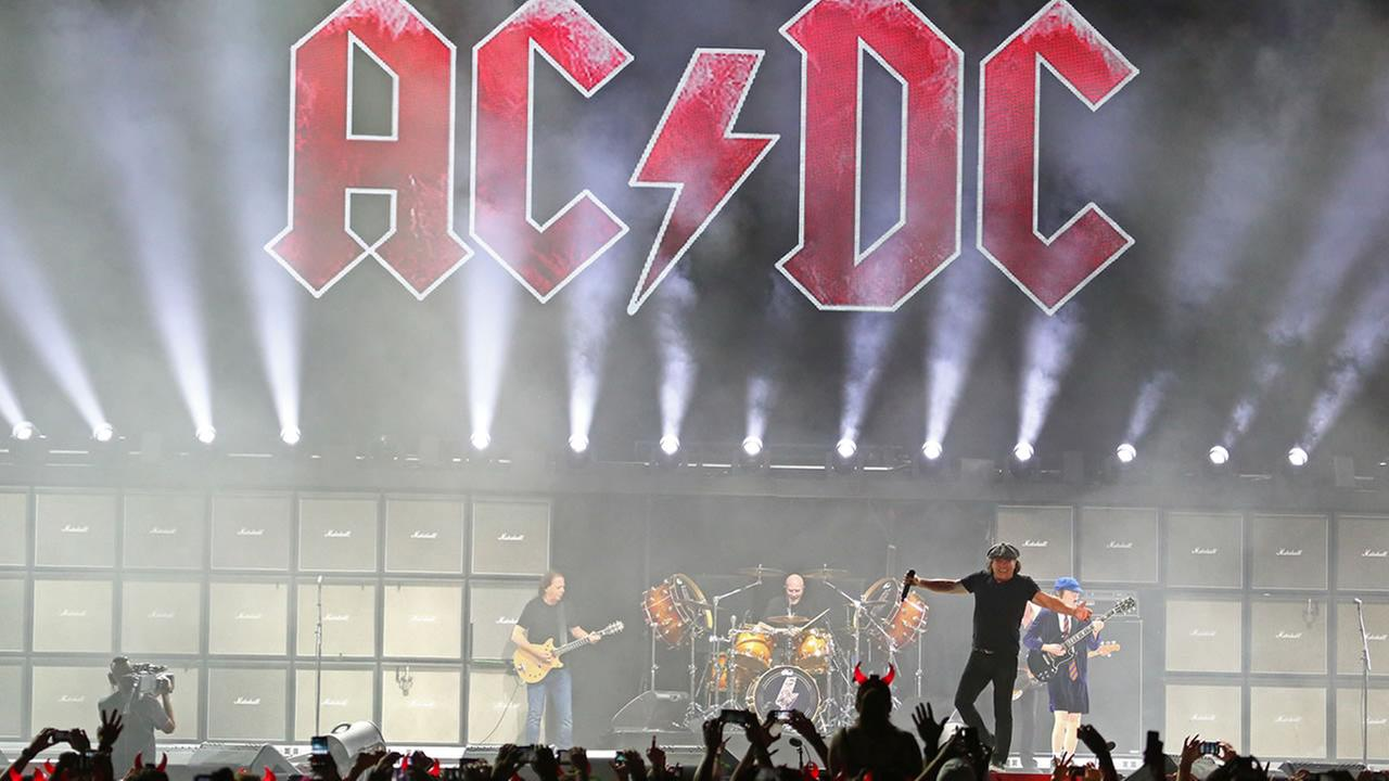 AC/DC performs at the Coachella Music and Arts Festival - Weekend 2 on Friday, April 17, 2015 in Indio, CA. (Photo by Zach Cordner/Invision/AP)