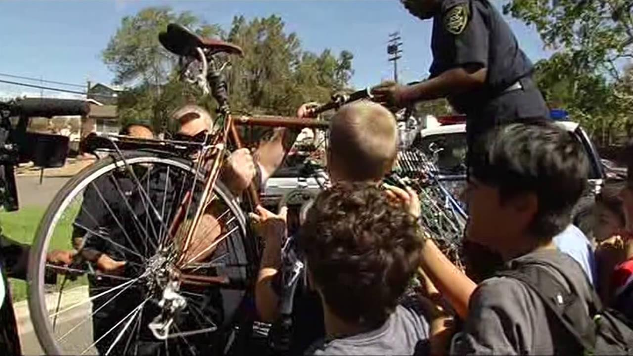 Oakland police replaced bicycles stolen from a program at East Bay Innovation Academy in Oakland, Calif. on September 24, 2015.
