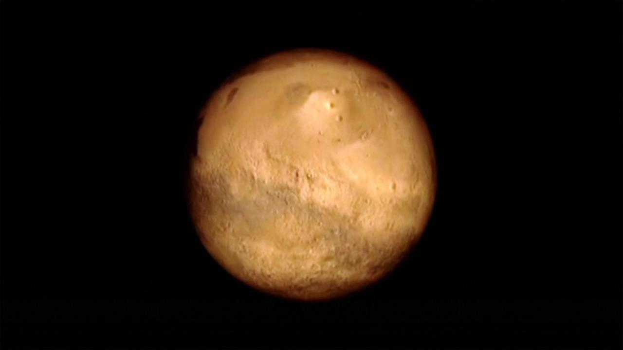 This image made available by NASA shows the planet Mars.