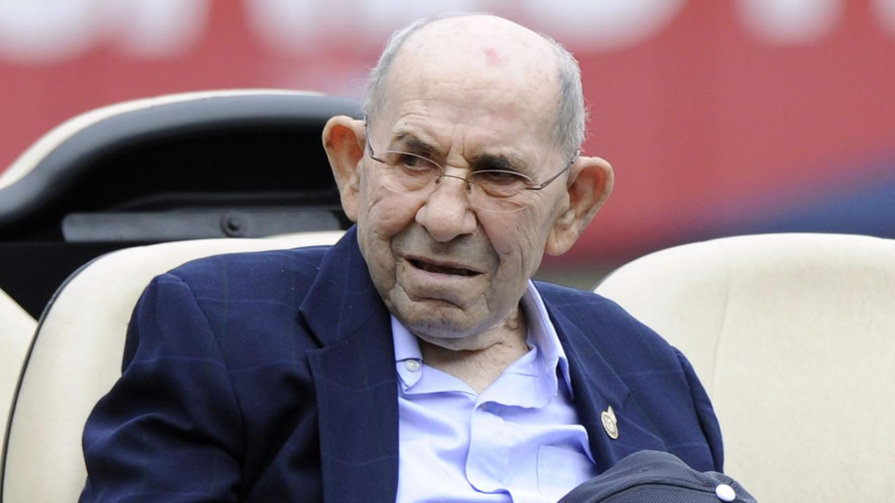 Baseball legend Yogi Berra looks on before a baseball game against the Chicago White Sox Saturday, Aug. 23, 2014, at Yankee Stadium in New York. AP Photo/Bill Kostroun