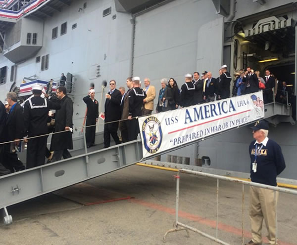 <div class='meta'><div class='origin-logo' data-origin='none'></div><span class='caption-text' data-credit=''>People exiting the USS America after a tour in San Francisco, Calif. on Saturday October 11, 2014.</span></div>