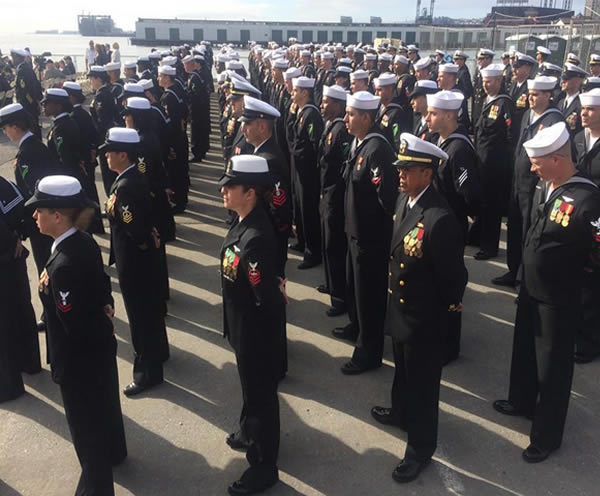 <div class='meta'><div class='origin-logo' data-origin='none'></div><span class='caption-text' data-credit=''>Marines and sailors gather for a commissioning ceremony for the USS America in San Francisco, Calif. on Saturday October 11, 2014.</span></div>