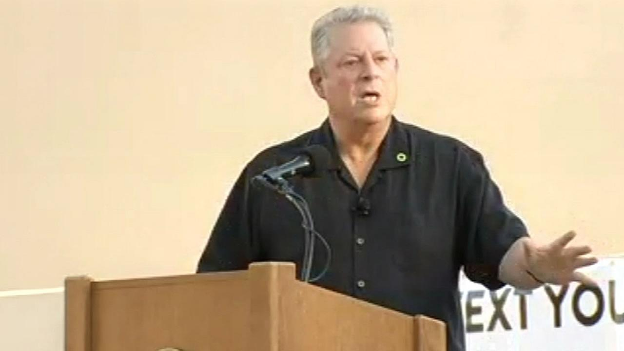former Vice President Al Gore speaks at Stanford
