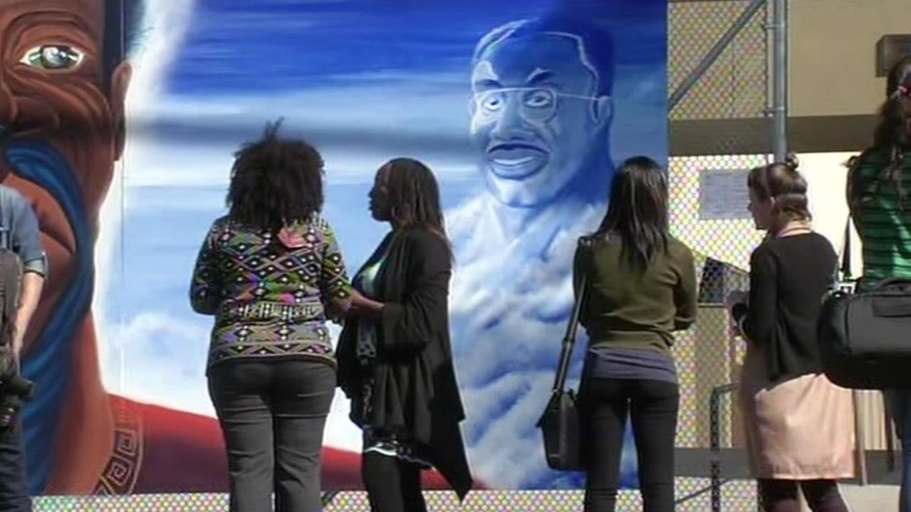 A mural honoring former Oakland Unified School District Superintendent Dr. Marcus Foster was unveiled in Oakland, Calif. on Tuesday, October 6, 2015.