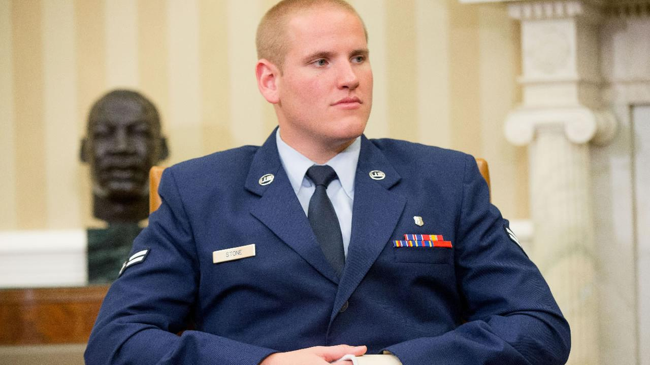 FILE: Air Force Airman 1st Class Spencer Stone at the Oval Office of the White House in Washington, Thursday, Sept. 17, 2015.