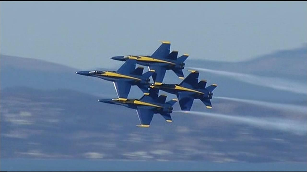 The Fleet Week air show featuring the Navys Blue Angels and other military aircrafts took flight over the San Francisco Bay Friday, October 9, 2015.